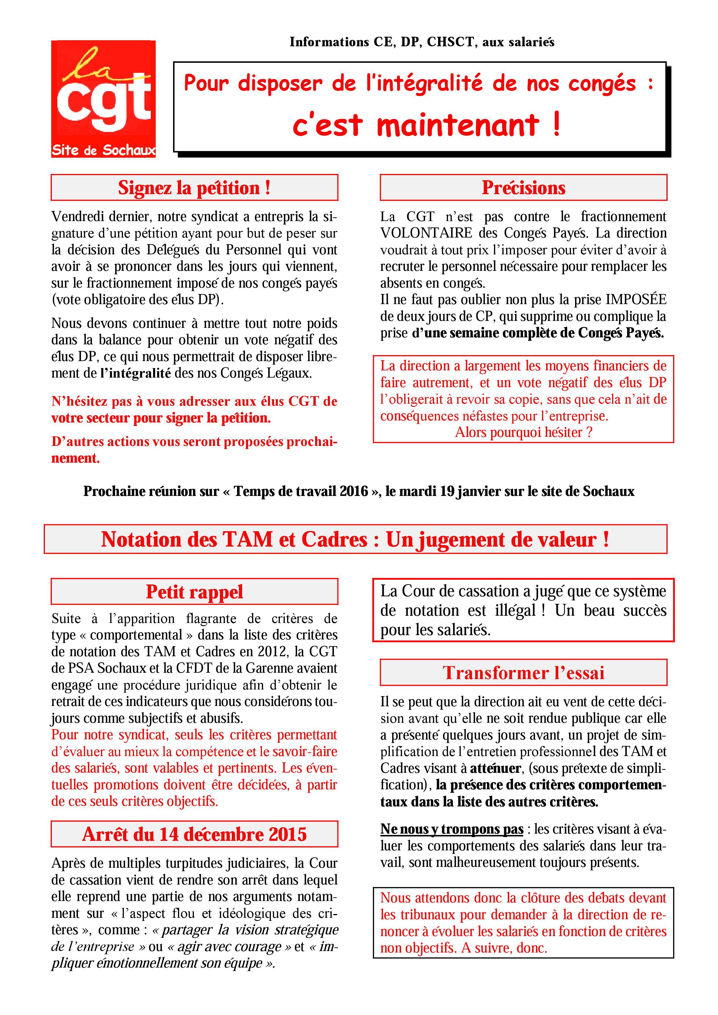 Tract 2016 Semaine 03 Conges Payes 2016 La Cgt Dans L Action A