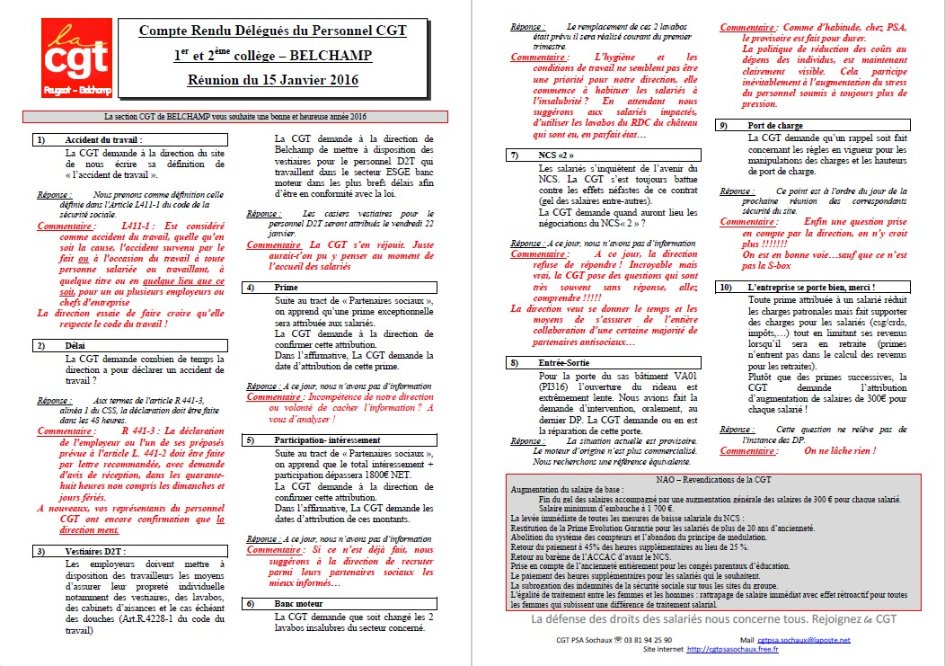 Compte Rendu Delegues Du Personnel Cgt 1er Et 2eme College